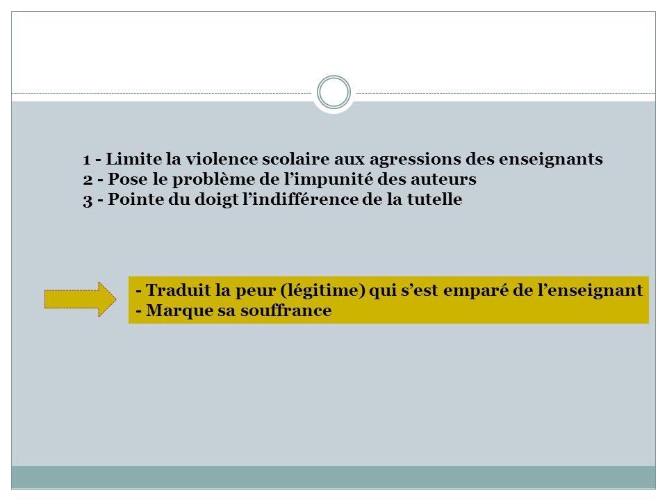 1 - Limite la violence scolaire aux agressions des enseignants 2 - Pose le problème de limpunité des auteurs 3 - Pointe du doigt lindifférence de la t