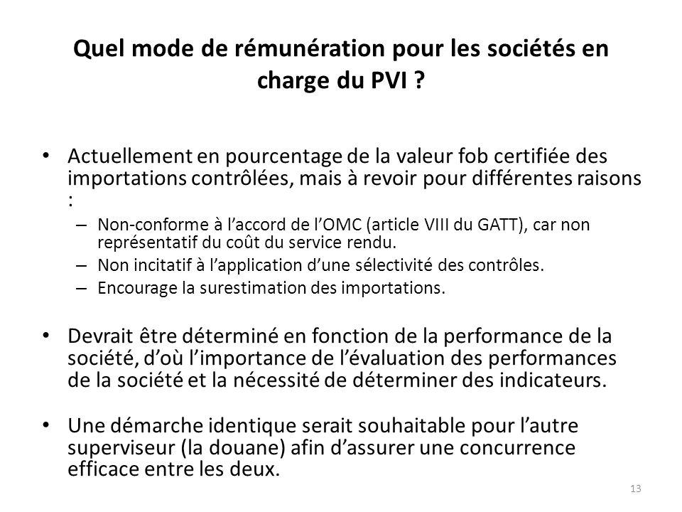 13 Quel mode de rémunération pour les sociétés en charge du PVI .