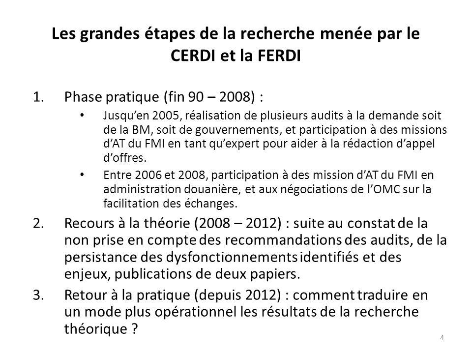 4 Les grandes étapes de la recherche menée par le CERDI et la FERDI 1.Phase pratique (fin 90 – 2008) : Jusquen 2005, réalisation de plusieurs audits à la demande soit de la BM, soit de gouvernements, et participation à des missions dAT du FMI en tant quexpert pour aider à la rédaction dappel doffres.