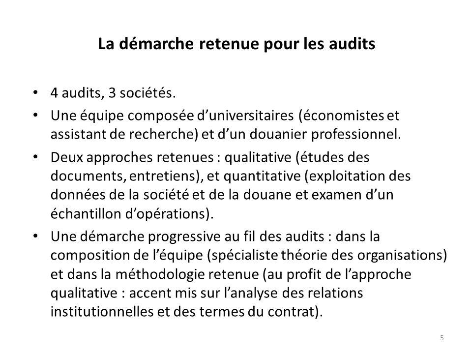 5 La démarche retenue pour les audits 4 audits, 3 sociétés.