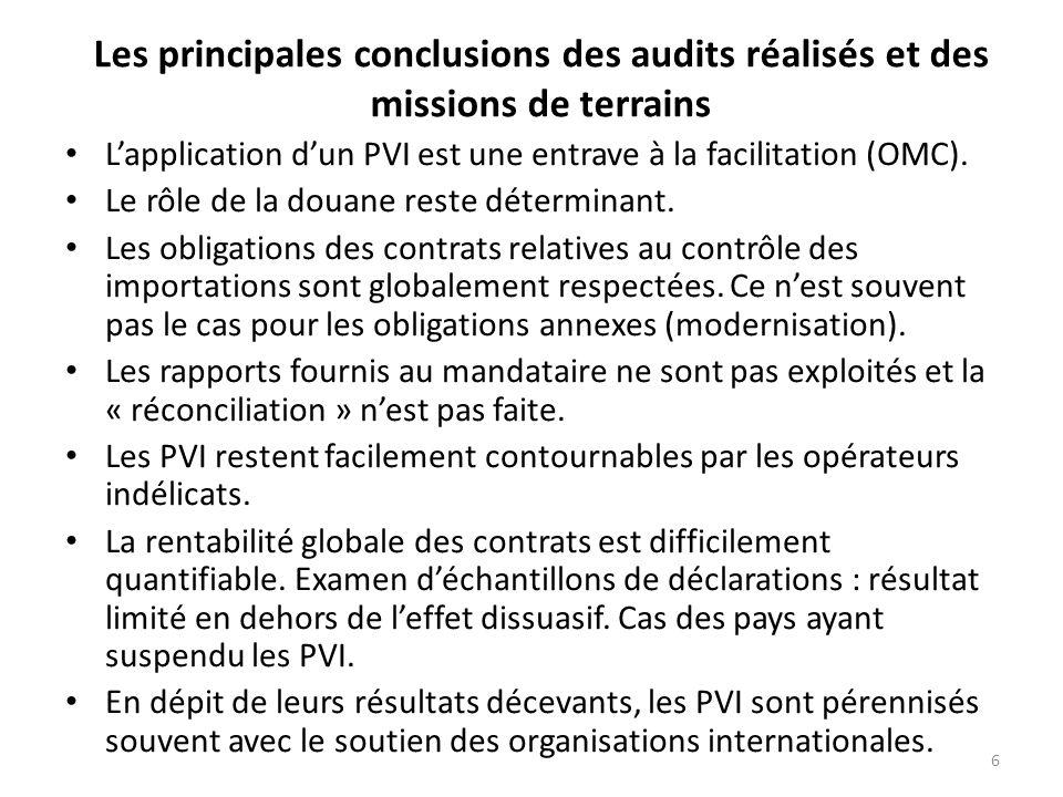 6 Les principales conclusions des audits réalisés et des missions de terrains Lapplication dun PVI est une entrave à la facilitation (OMC).