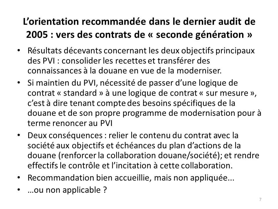 7 Lorientation recommandée dans le dernier audit de 2005 : vers des contrats de « seconde génération » Résultats décevants concernant les deux objectifs principaux des PVI : consolider les recettes et transférer des connaissances à la douane en vue de la moderniser.
