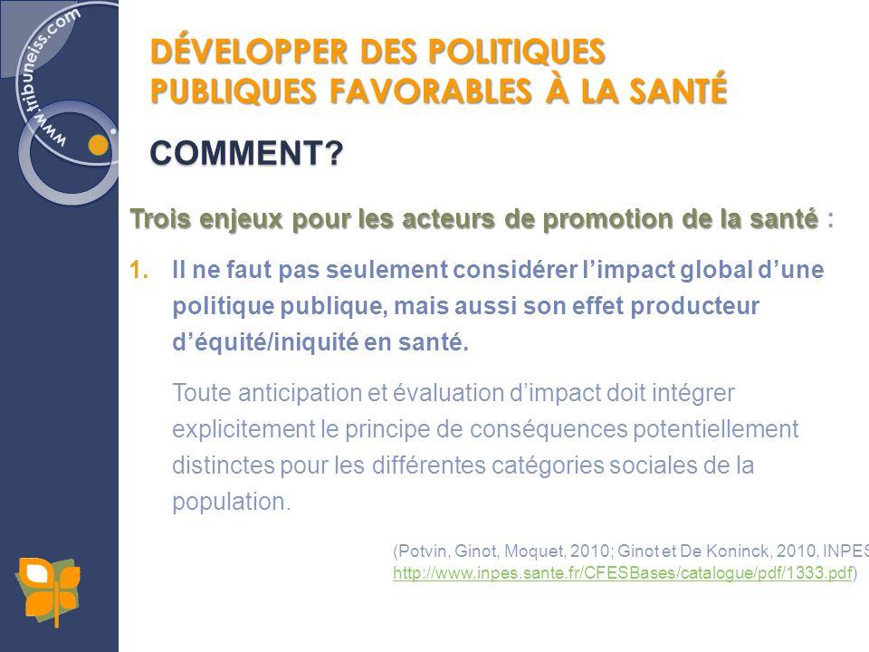 Trois enjeux pour les acteurs de promotion de la santé Trois enjeux pour les acteurs de promotion de la santé : 1.Il ne faut pas seulement considérer limpact global dune politique publique, mais aussi son effet producteur déquité/iniquité en santé.