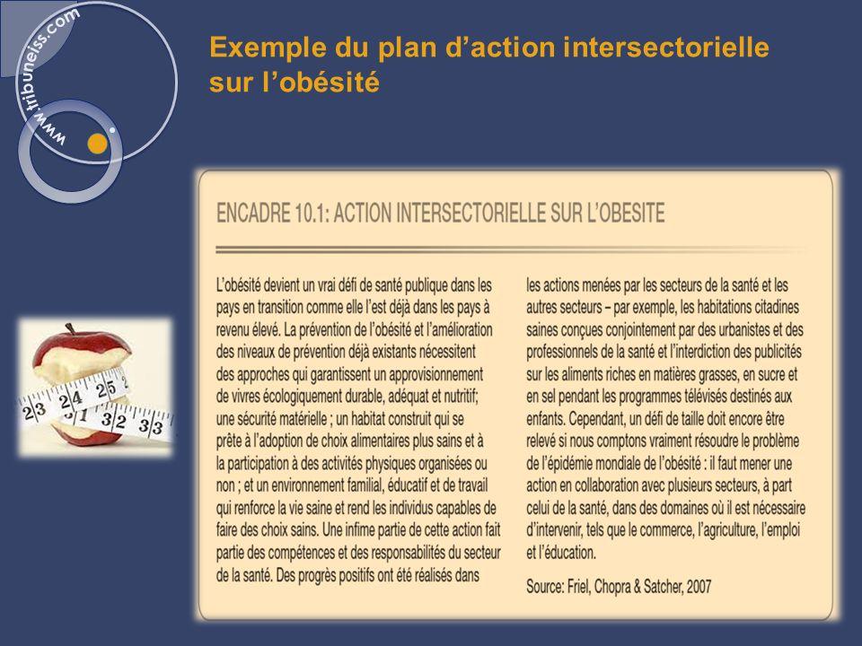 Exemple du plan daction intersectorielle sur lobésité