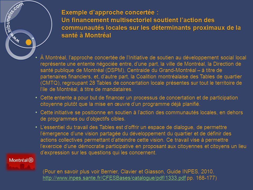 Exemple dapproche concertée : Un financement multisectoriel soutient laction des communautés locales sur les déterminants proximaux de la santé à Montréal À Montréal, lapproche concertée de lInitiative de soutien au développement social local représente une entente négociée entre, dune part, la ville de Montréal, la Direction de santé publique de Montréal (DSPM), Centraide du Grand-Montréal – à titre de partenaires financiers, et, dautre part, la Coalition montréalaise des Tables de quartier (CMTQ), regroupant 28 Tables de concertation locale présentes sur tout le territoire de lile de Montréal, à titre de mandataires.