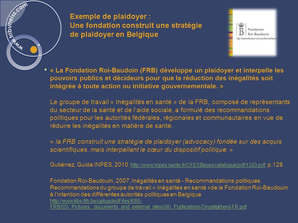 Exemple de plaidoyer : Une fondation construit une stratégie de plaidoyer en Belgique « La Fondation Roi-Baudoin (FRB) développe un plaidoyer et inter