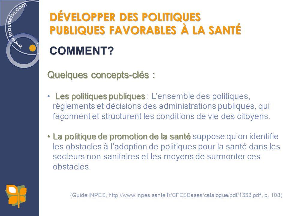 DÉVELOPPER DES POLITIQUES PUBLIQUES FAVORABLES À LA SANTÉ COMMENT? Quelques concepts-clés : Les politiques publiques Les politiques publiques : Lensem