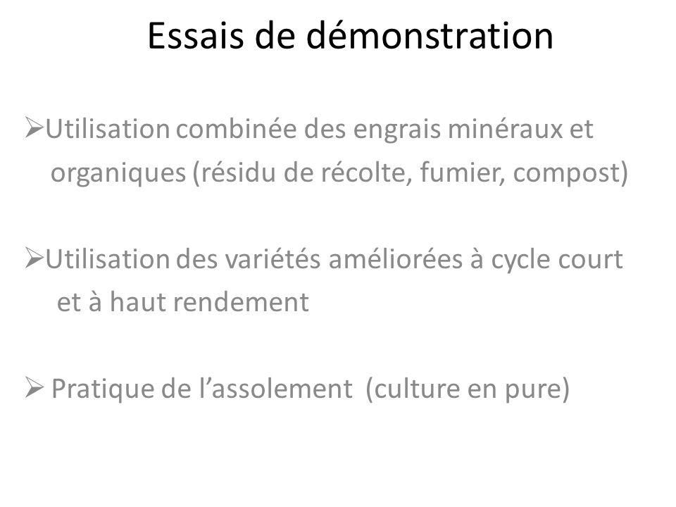 Essais de démonstration Utilisation combinée des engrais minéraux et organiques (résidu de récolte, fumier, compost) Utilisation des variétés amélioré