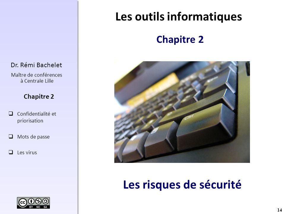 14 Dr. Rémi Bachelet Maître de conférences à Centrale Lille Confidentialité et priorisation Mots de passe Les virus Chapitre 2 Les risques de sécurité