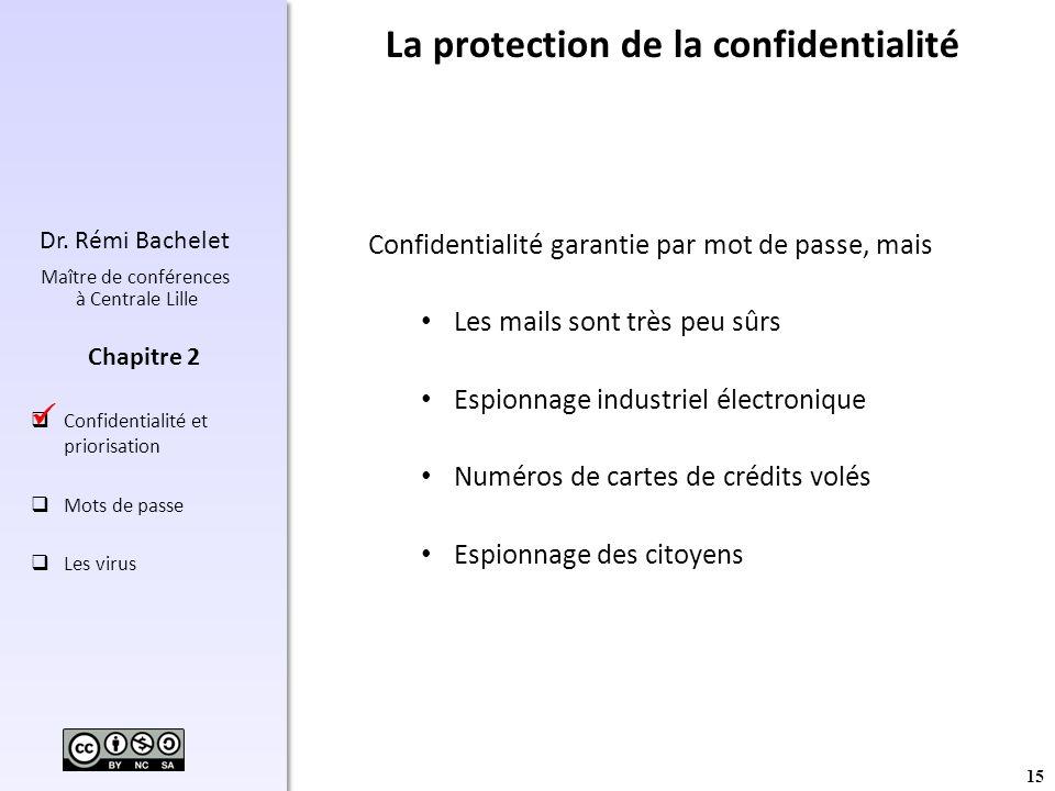 15 Dr. Rémi Bachelet Maître de conférences à Centrale Lille Confidentialité et priorisation Mots de passe Les virus Chapitre 2 La protection de la con