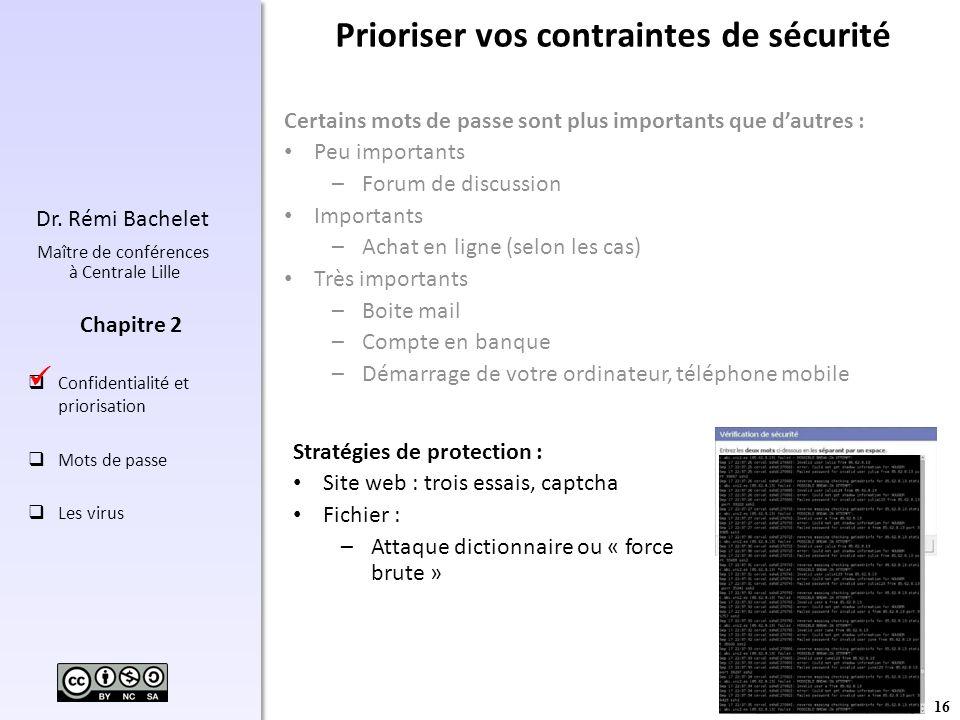 16 Dr. Rémi Bachelet Maître de conférences à Centrale Lille Confidentialité et priorisation Mots de passe Les virus Chapitre 2 Prioriser vos contraint