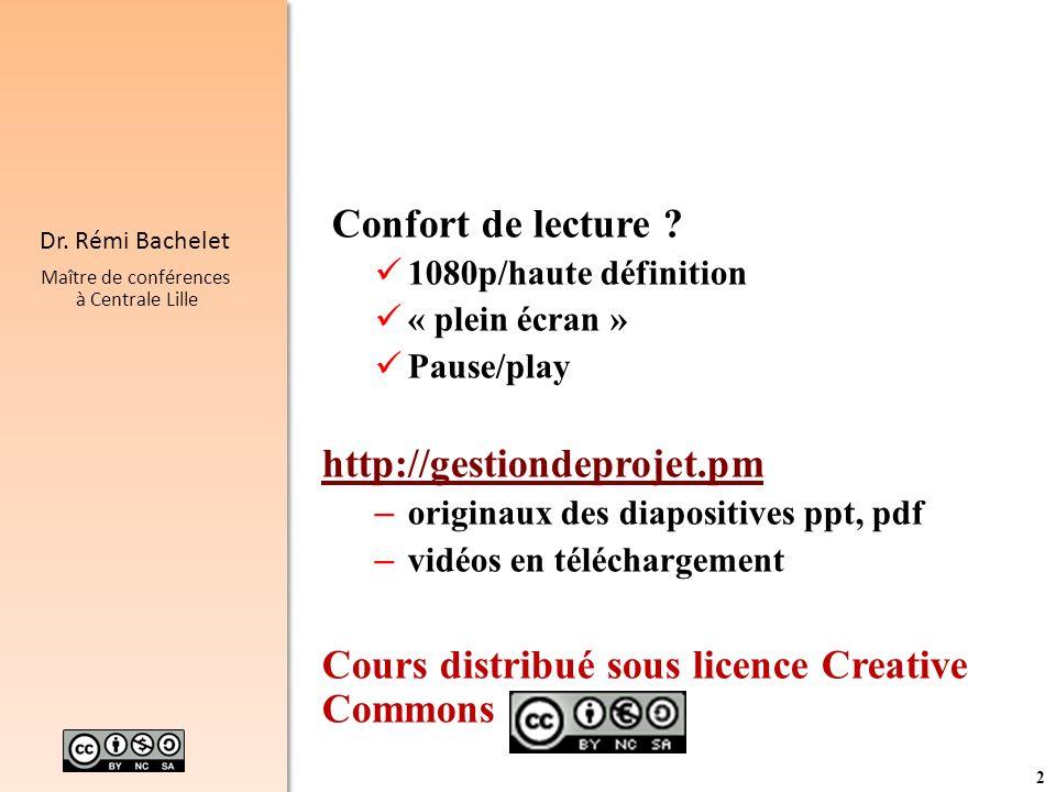 2 Dr. Rémi Bachelet Maître de conférences à Centrale Lille Confort de lecture ? 1080p/haute définition « plein écran » Pause/play http://gestiondeproj
