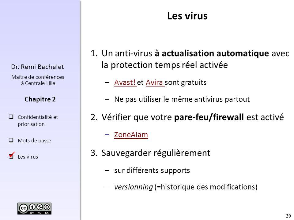 20 Dr. Rémi Bachelet Maître de conférences à Centrale Lille Confidentialité et priorisation Mots de passe Les virus Chapitre 2 Les virus 1.Un anti-vir