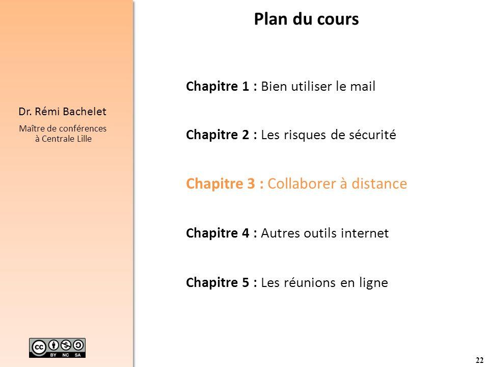 22 Dr. Rémi Bachelet Maître de conférences à Centrale Lille Plan du cours Chapitre 1 : Bien utiliser le mail Chapitre 2 : Les risques de sécurité Chap