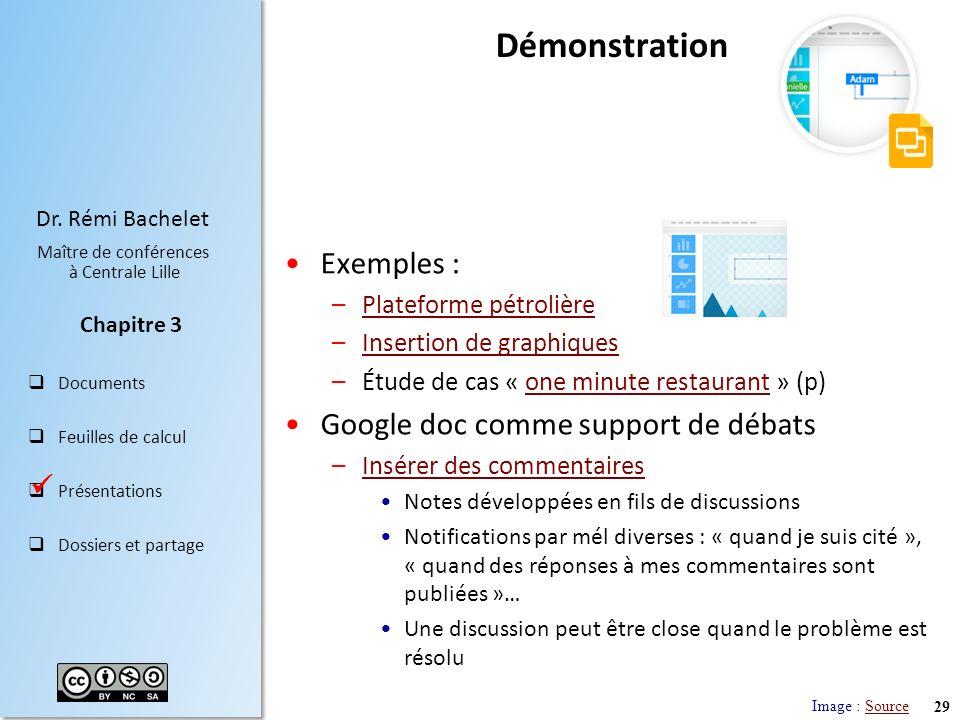29 Dr. Rémi Bachelet Maître de conférences à Centrale Lille Documents Feuilles de calcul Présentations Dossiers et partage Chapitre 3 Démonstration Ex