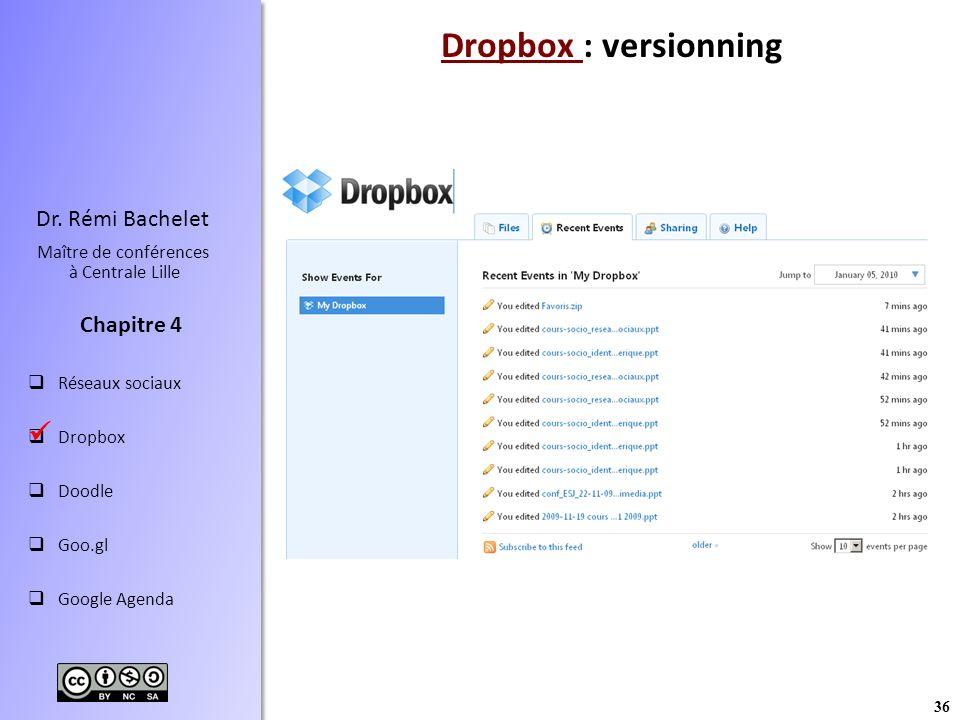 36 Dr. Rémi Bachelet Maître de conférences à Centrale Lille Réseaux sociaux Dropbox Doodle Goo.gl Google Agenda Chapitre 4 Dropbox Dropbox : versionni