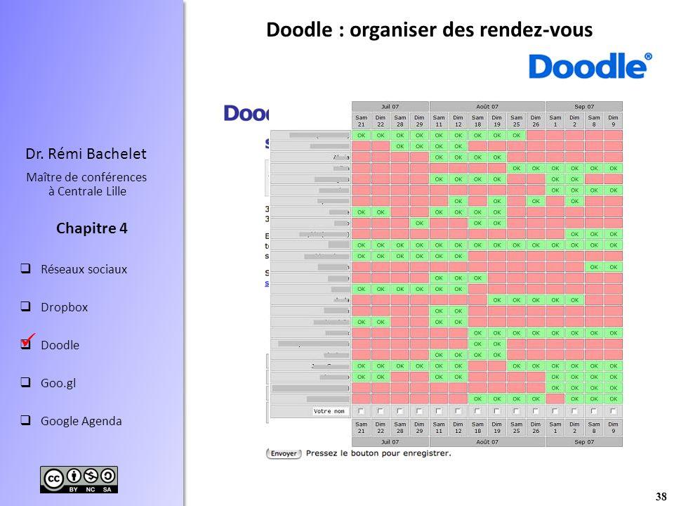 38 Dr. Rémi Bachelet Maître de conférences à Centrale Lille Réseaux sociaux Dropbox Doodle Goo.gl Google Agenda Chapitre 4 Doodle : organiser des rend