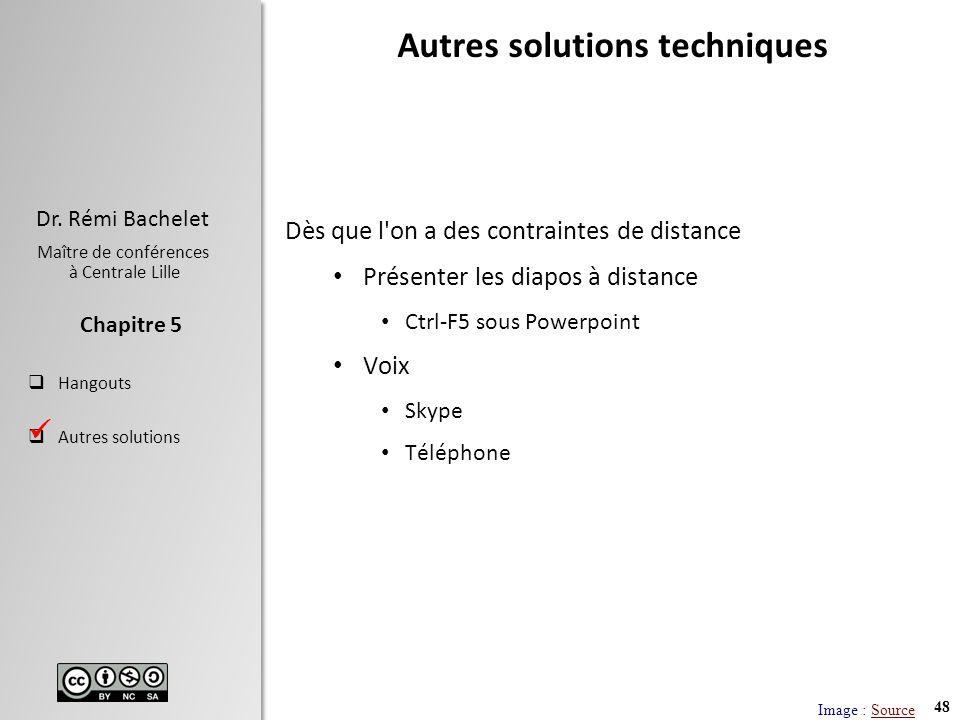 48 Dr. Rémi Bachelet Maître de conférences à Centrale Lille Hangouts Autres solutions Chapitre 5 Autres solutions techniques Dès que l'on a des contra