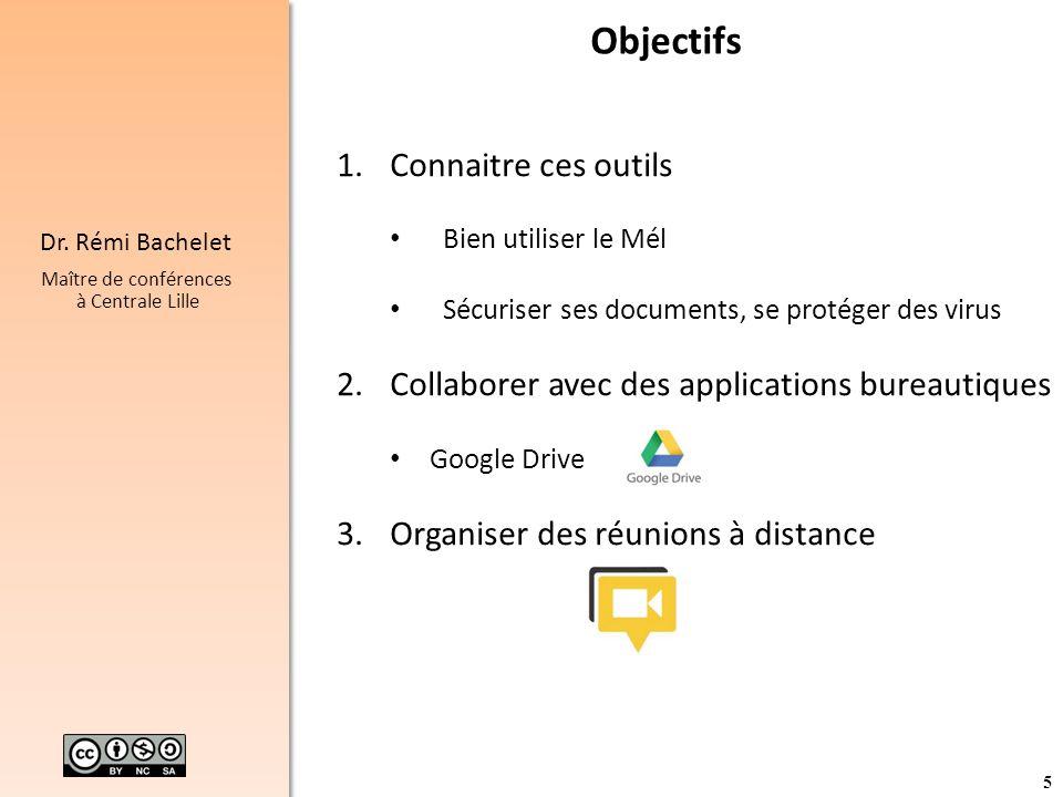 5 Dr. Rémi Bachelet Maître de conférences à Centrale Lille Objectifs 1.Connaitre ces outils Bien utiliser le Mél Sécuriser ses documents, se protéger