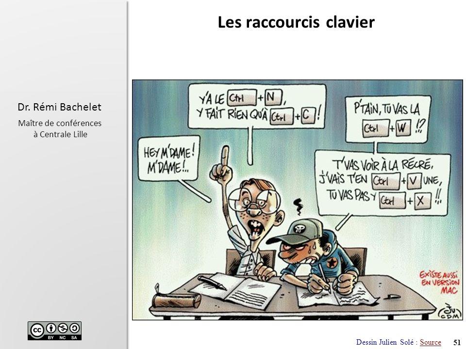 51 Dr. Rémi Bachelet Maître de conférences à Centrale Lille Les raccourcis clavier Dessin Julien Solé : SourceSource