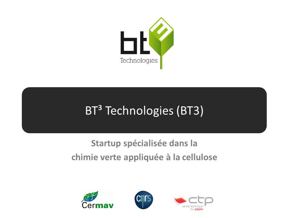 BT³ Technologies (BT3) Startup spécialisée dans la chimie verte appliquée à la cellulose