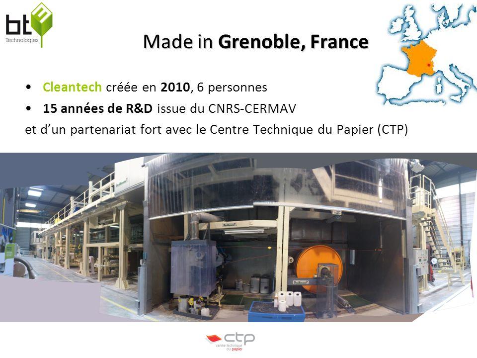 BT³ Technologies Made in Grenoble, France Cleantech créée en 2010, 6 personnes 15 années de R&D issue du CNRS-CERMAV et dun partenariat fort avec le Centre Technique du Papier (CTP)
