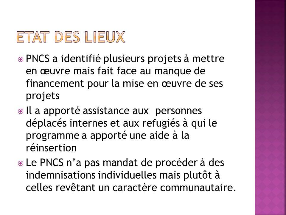 PNCS a identifié plusieurs projets à mettre en œuvre mais fait face au manque de financement pour la mise en œuvre de ses projets Il a apporté assista