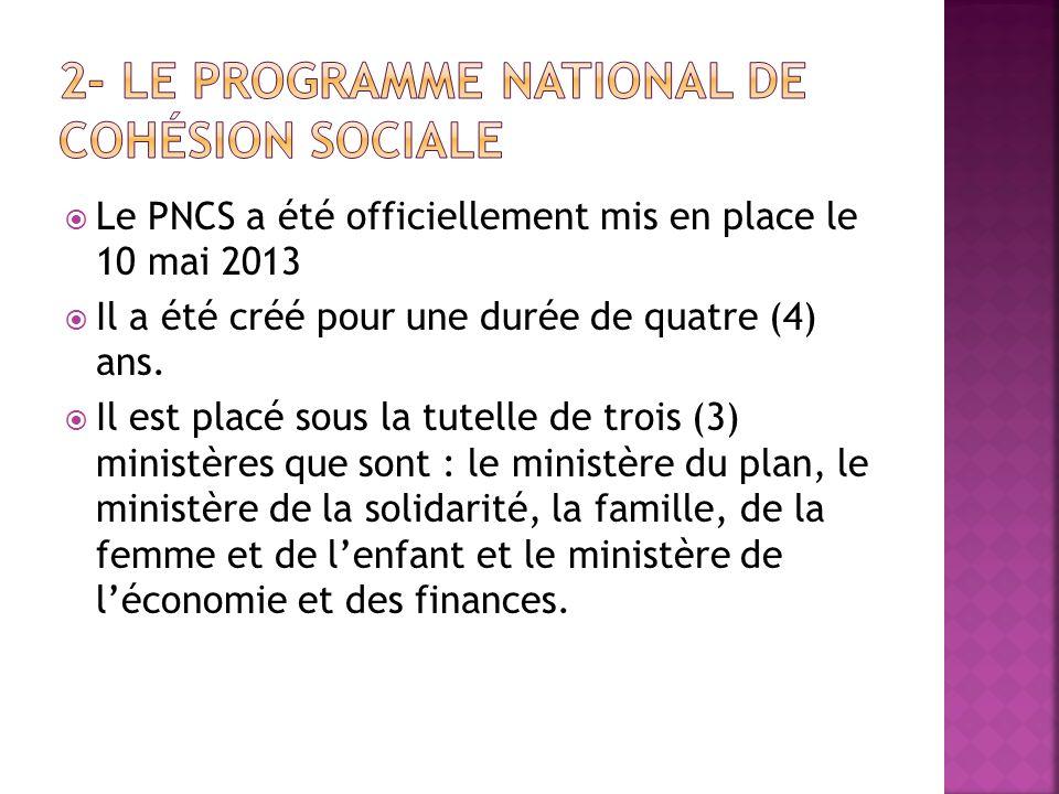 Le PNCS a été officiellement mis en place le 10 mai 2013 Il a été créé pour une durée de quatre (4) ans. Il est placé sous la tutelle de trois (3) min