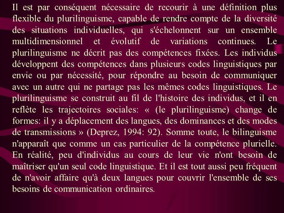 Il est par conséquent nécessaire de recourir à une définition plus flexible du plurilinguisme, capable de rendre compte de la diversité des situations