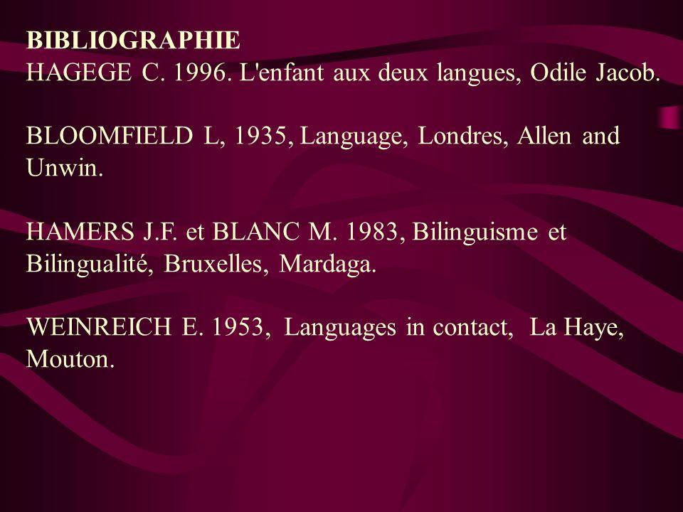 BIBLIOGRAPHIE HAGEGE C. 1996. L'enfant aux deux langues, Odile Jacob. BLOOMFIELD L, 1935, Language, Londres, Allen and Unwin. HAMERS J.F. et BLANC M.