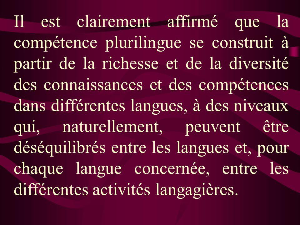 Typologie du bilinguisme selon les compétences linguistiques La recherche sur le bilinguisme ordinaire et sa construction apporte un éclairage intéressant pour tous ceux qui travaillent à la mise en place de compétences dans plus d une langue à lintérieur du champ scolaire.