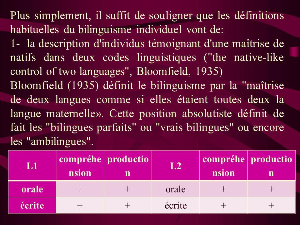 2- A celles qui considèrent qu un bilingue possède une compétence minimale dans au moins une des quatre compétences langagières (compréhension et expression, à l écrit et à l oral) Weinreich (1953) définit le bilinguisme de façon moins absolue : Est bilingue celui qui possède au moins une des quatre capacités (parler, comprendre, lire, écrire) dans une langue autre que sa langue maternelle. Haugen (1953) se place résolument dans les compétences de production : Le bilinguisme commence lorsque l individu peut produire des énoncés ayant un sens dans une langue autre que sa langue maternelle.