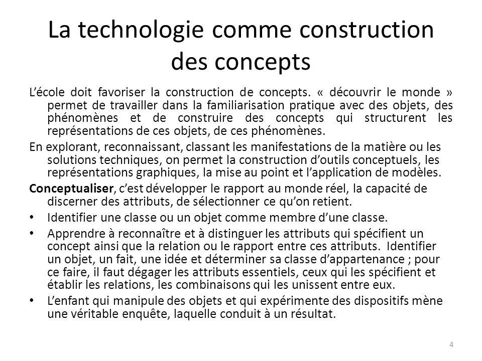 La technologie comme construction des concepts Lécole doit favoriser la construction de concepts.