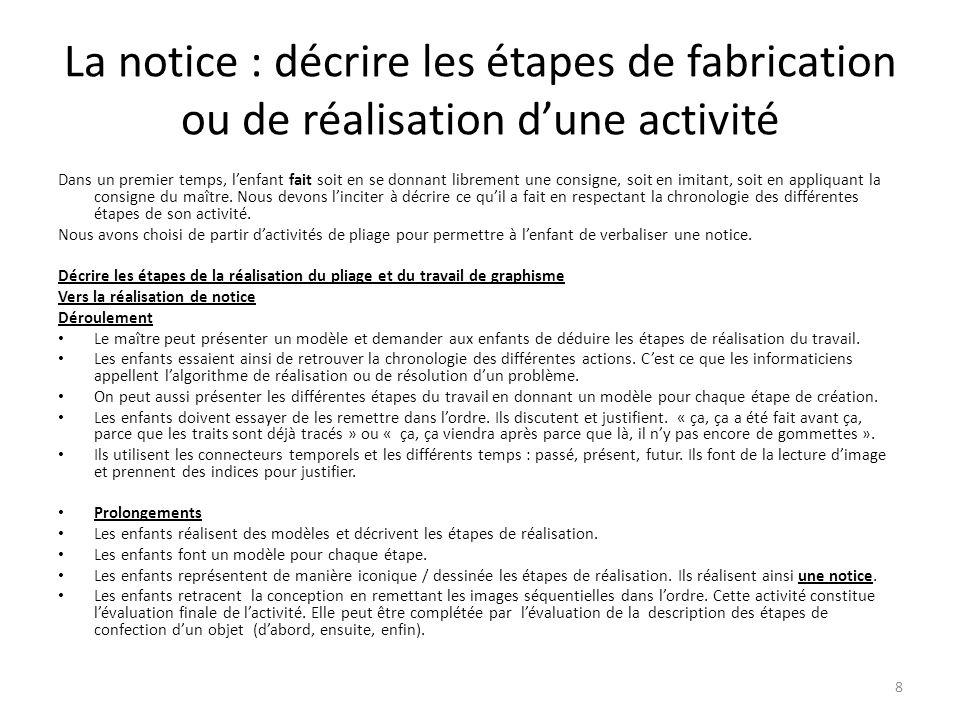 La notice : décrire les étapes de fabrication ou de réalisation dune activité Dans un premier temps, lenfant fait soit en se donnant librement une consigne, soit en imitant, soit en appliquant la consigne du maître.