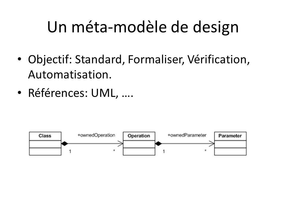 Un méta-modèle de design Objectif: Standard, Formaliser, Vérification, Automatisation. Références: UML, ….