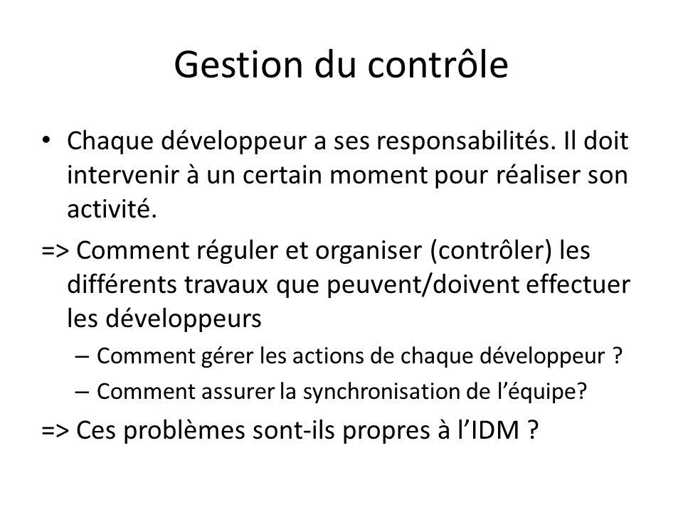 Gestion du contrôle Chaque développeur a ses responsabilités. Il doit intervenir à un certain moment pour réaliser son activité. => Comment réguler et