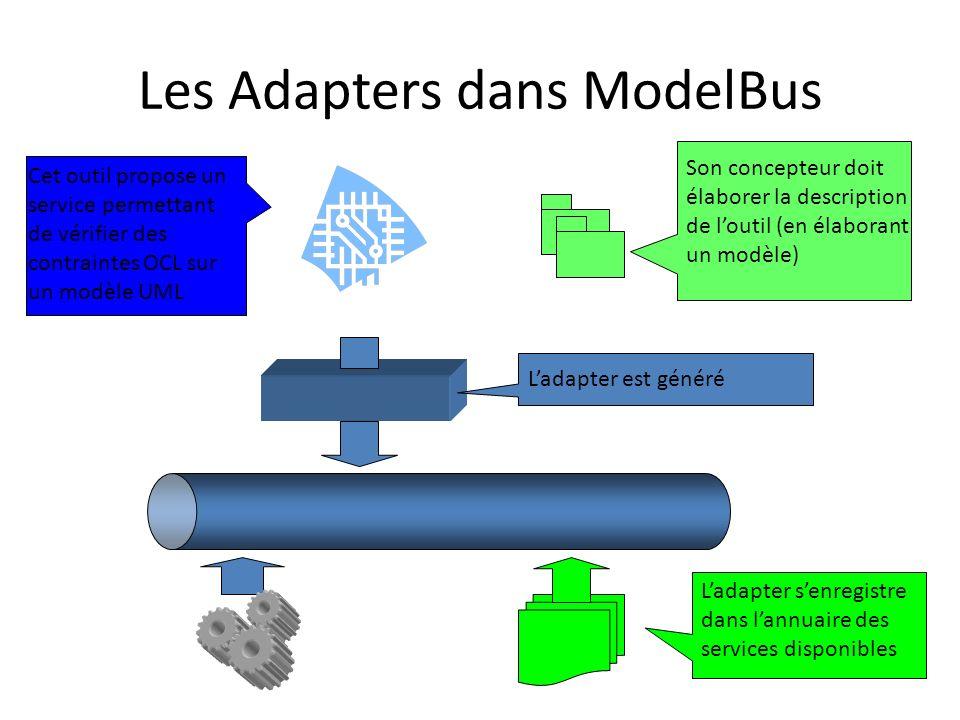 Les Adapters dans ModelBus Cet outil propose un service permettant de vérifier des contraintes OCL sur un modèle UML Son concepteur doit élaborer la d