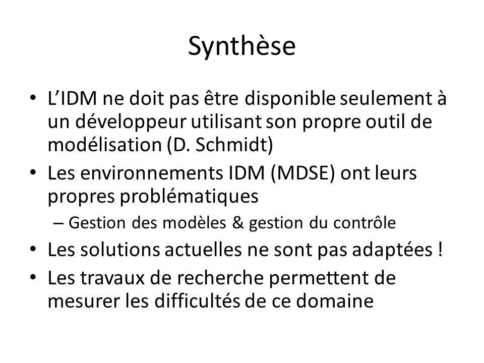 Synthèse LIDM ne doit pas être disponible seulement à un développeur utilisant son propre outil de modélisation (D. Schmidt) Les environnements IDM (M