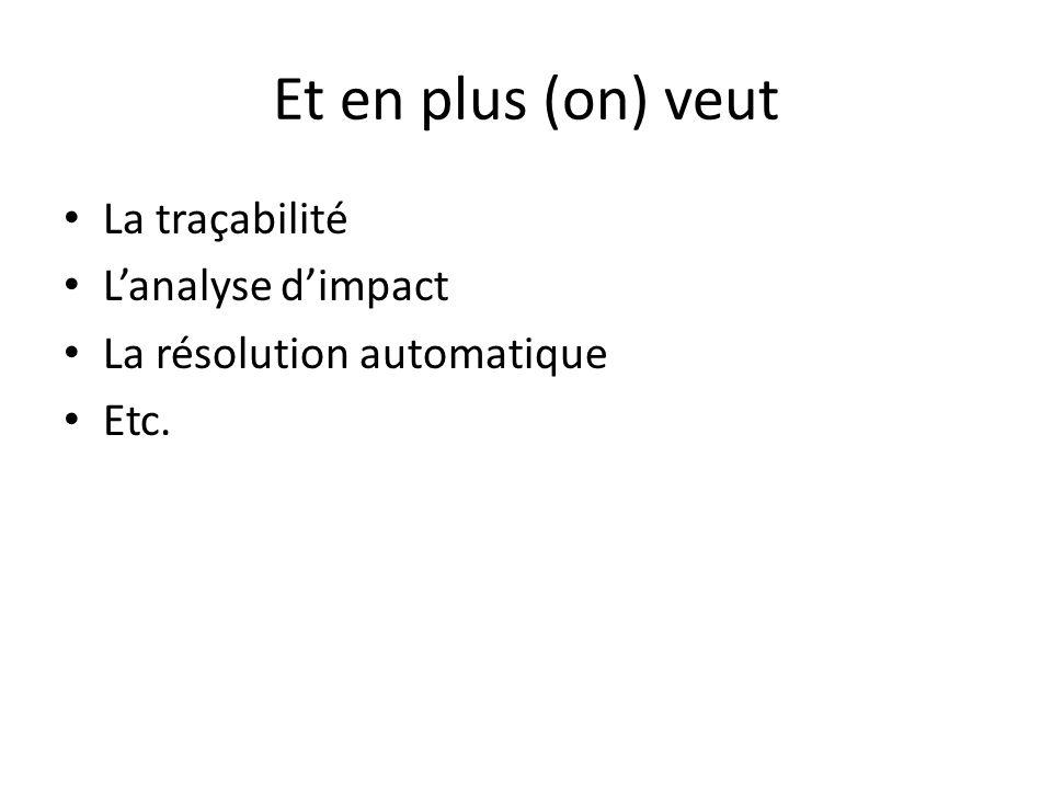Et en plus (on) veut La traçabilité Lanalyse dimpact La résolution automatique Etc.