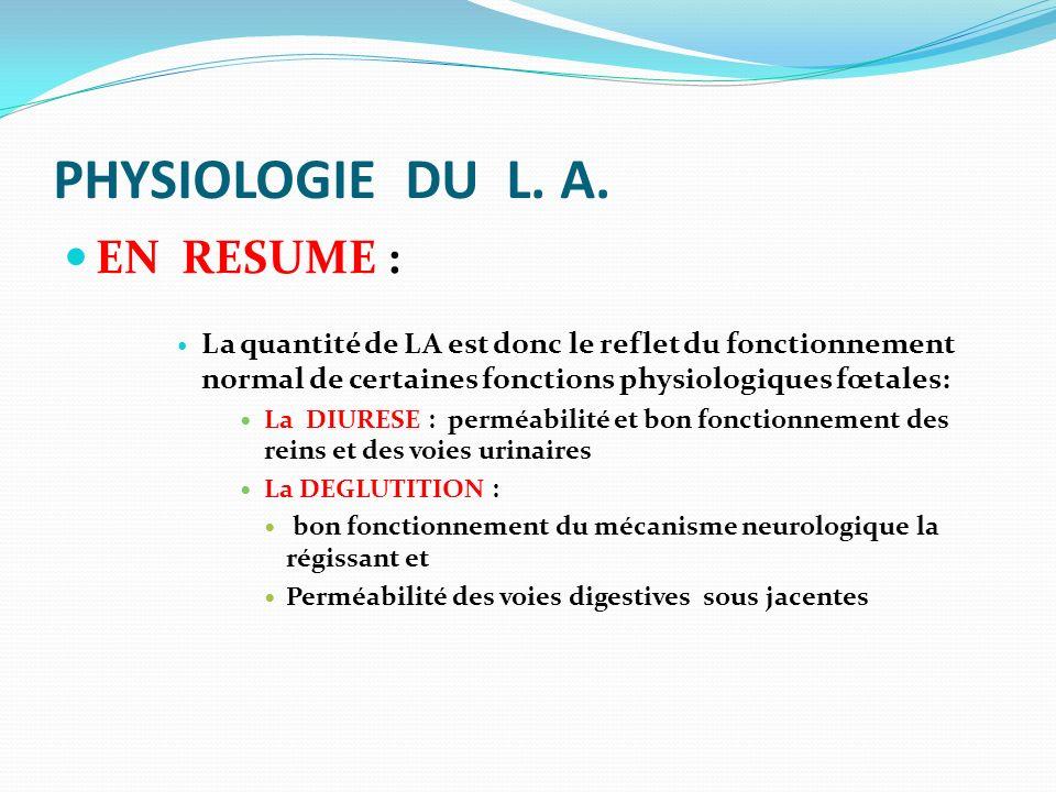 PHYSIOLOGIE DU L. A. EN RESUME : La quantité de LA est donc le reflet du fonctionnement normal de certaines fonctions physiologiques fœtales: La DIURE