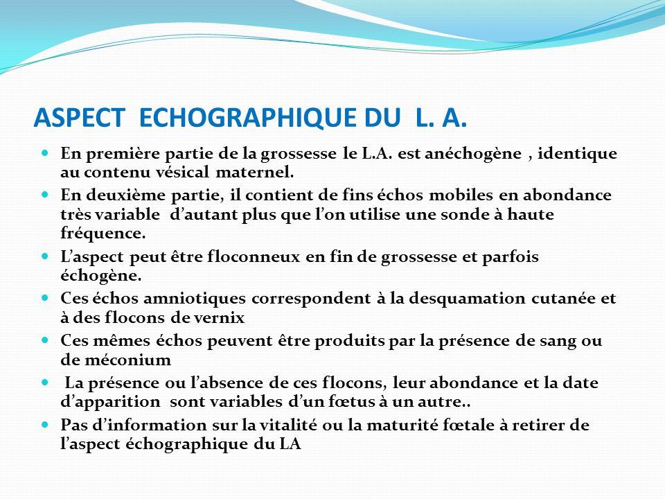 ASPECT ECHOGRAPHIQUE DU L. A. En première partie de la grossesse le L.A. est anéchogène, identique au contenu vésical maternel. En deuxième partie, il