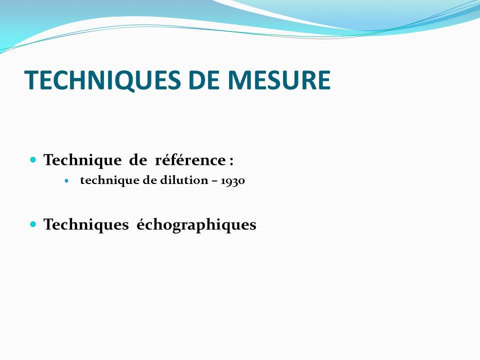 TECHNIQUES DE MESURE Technique de référence : technique de dilution – 1930 Techniques échographiques