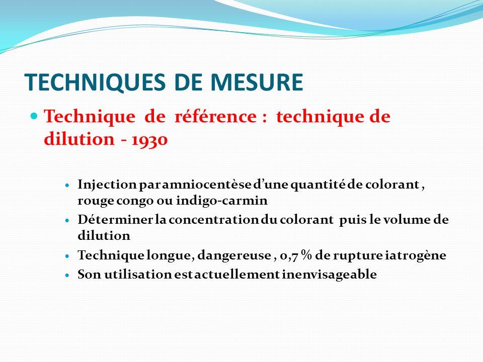 TECHNIQUES DE MESURE Technique de référence : technique de dilution - 1930 Injection par amniocentèse dune quantité de colorant, rouge congo ou indigo