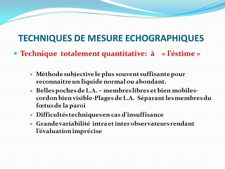 TECHNIQUES DE MESURE ECHOGRAPHIQUES Technique totalement quantitative: à « léstime » Méthode subjective le plus souvent suffisante pour reconnaitre un