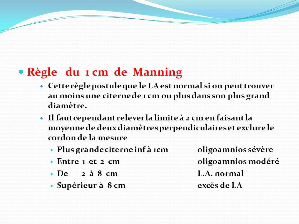 Règle du 1 cm de Manning Cette règle postule que le LA est normal si on peut trouver au moins une citerne de 1 cm ou plus dans son plus grand diamètre