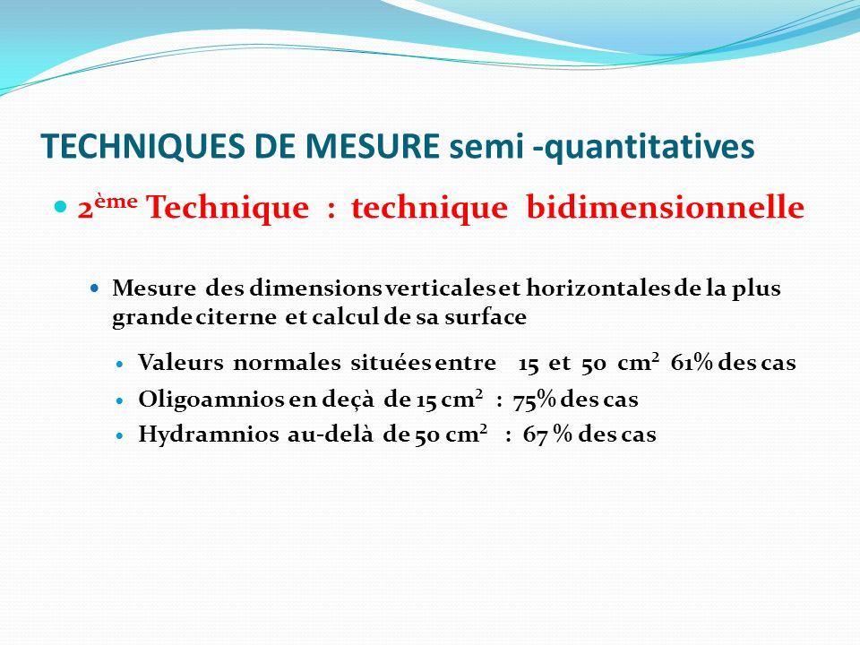 TECHNIQUES DE MESURE semi -quantitatives 2 ème Technique : technique bidimensionnelle Mesure des dimensions verticales et horizontales de la plus gran