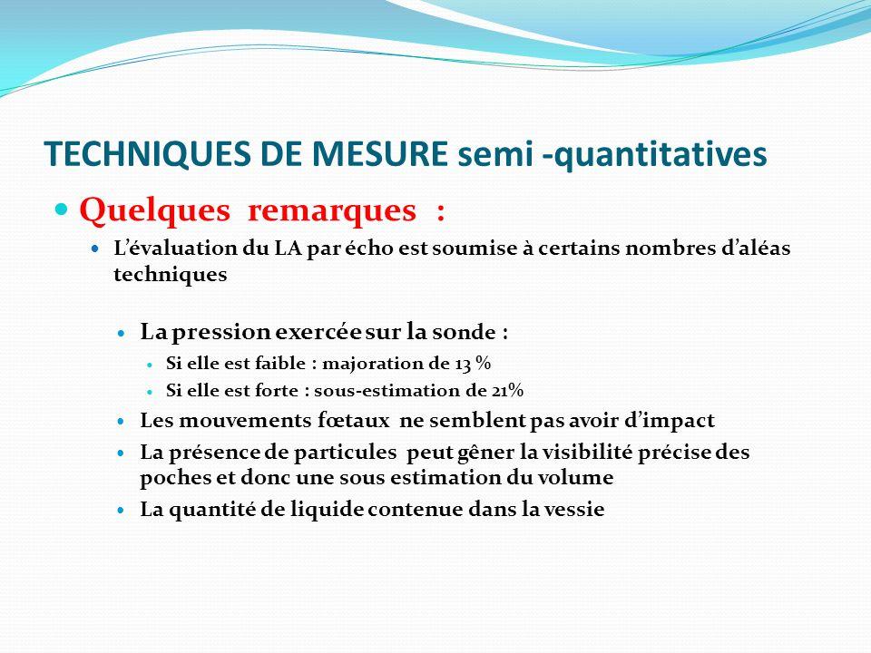 TECHNIQUES DE MESURE semi -quantitatives Quelques remarques : Lévaluation du LA par écho est soumise à certains nombres daléas techniques La pression