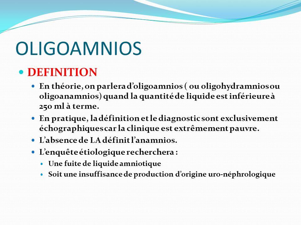 OLIGOAMNIOS DEFINITION En théorie, on parlera doligoamnios ( ou oligohydramnios ou oligoanamnios) quand la quantité de liquide est inférieure à 250 ml