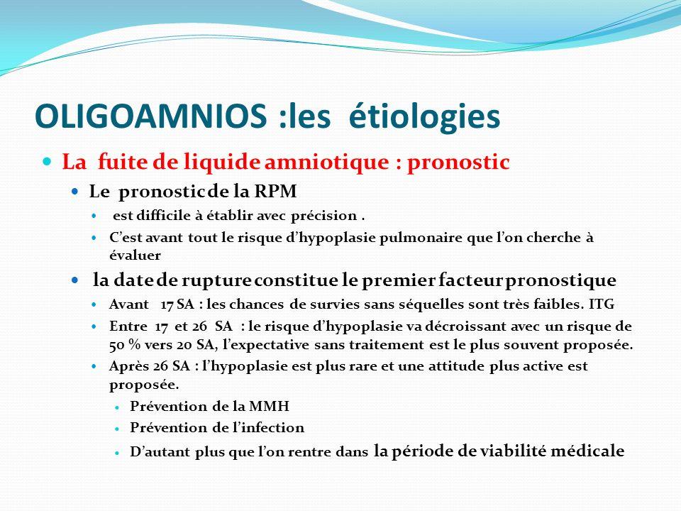 OLIGOAMNIOS :les étiologies La fuite de liquide amniotique : pronostic Le pronostic de la RPM est difficile à établir avec précision. Cest avant tout