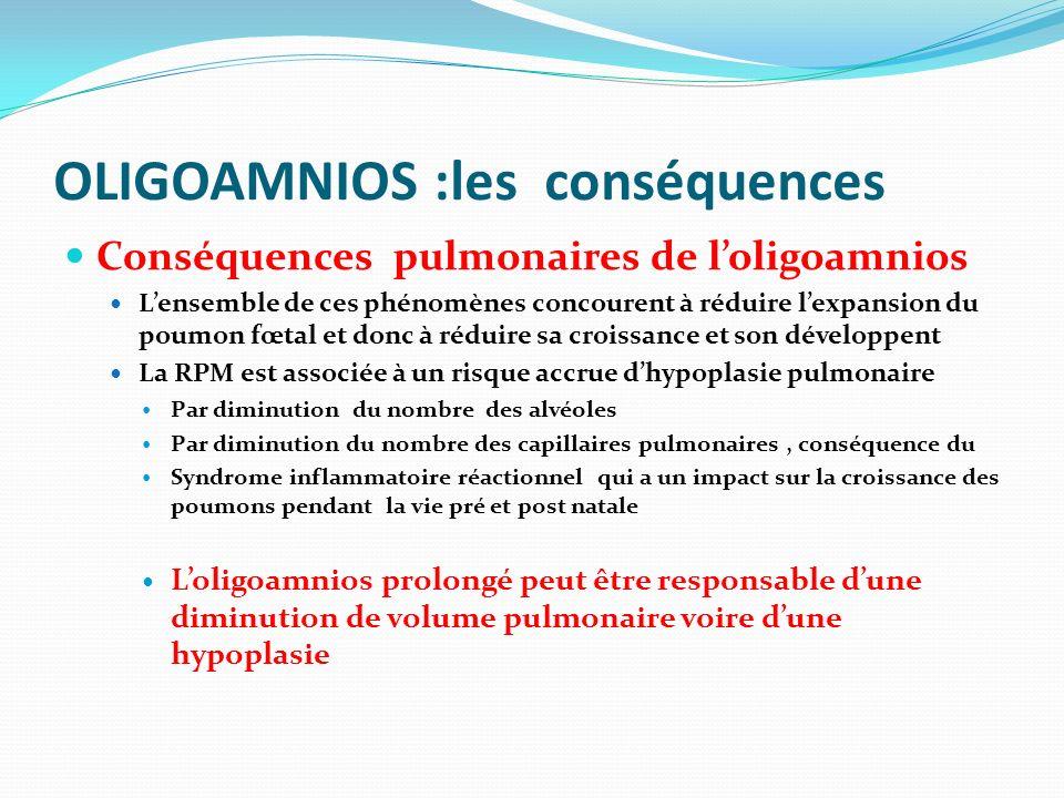 Conséquences pulmonaires de loligoamnios Lensemble de ces phénomènes concourent à réduire lexpansion du poumon fœtal et donc à réduire sa croissance e